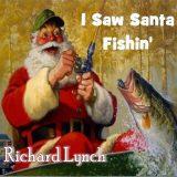 cartoon santa catching fish on fishing pole